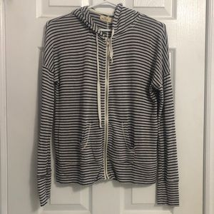 white and navy blue striped hollister hoodie